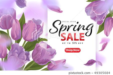 Spring sale with blooming purple tulip flowers 49305084