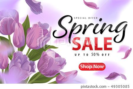 Spring sale with blooming purple tulip flowers 49305085