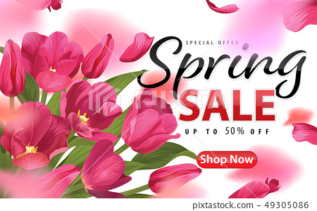 Spring sale with blooming pink tulip flowers 49305086