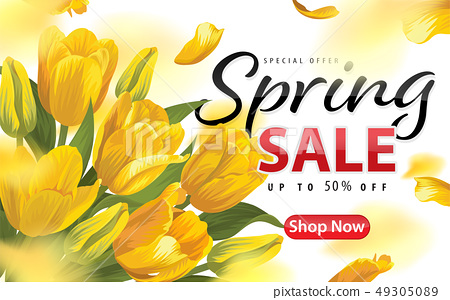 Spring sale with blooming yellow tulip flowers 49305089