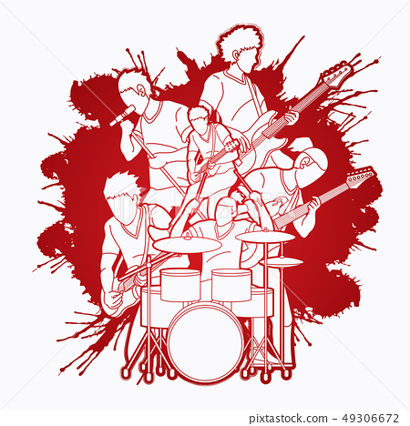 Musician playing music together, Music band vector 49306672