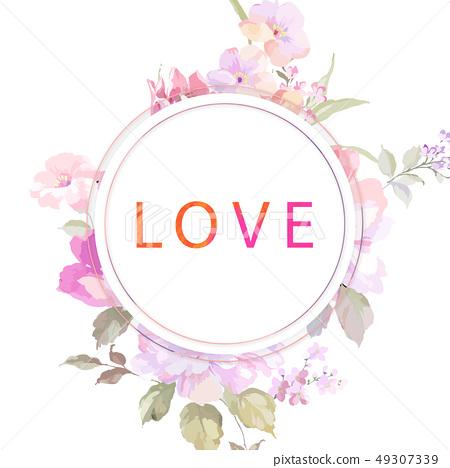 優雅的玫瑰花牡丹花插畫 49307339