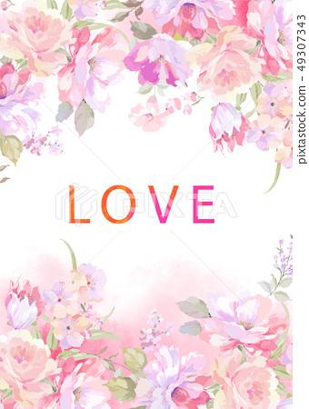 優雅的玫瑰花牡丹花插畫 49307343