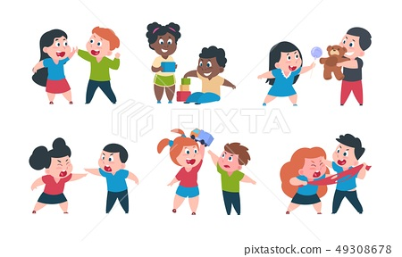 Kids behavior. Cartoon brother and sister fight cray play, cute little boy girl happy characters 49308678