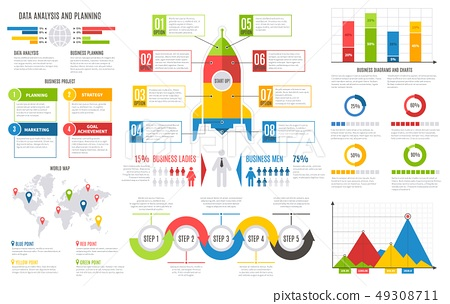 Infographics report. Financial charts diagrams bar chart graph business user interface design vector 49308711