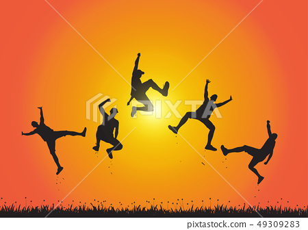 Silhouette of friends jumping over meadow  49309283