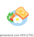 Breakfast Toast and fried egg 49312791
