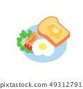 아침 식사 토스트와 계란 후라이 49312791