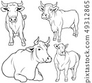 Dairy Cow Outlines Collection 49312865