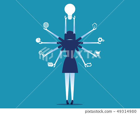 Manager holding business icons. Concept business 49314980