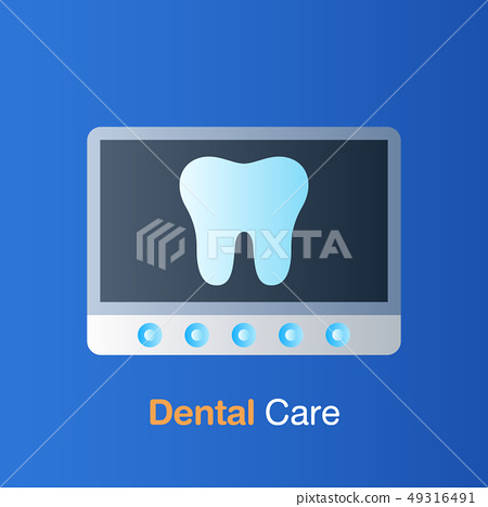 Dental care concept. Tooth X-ray, prevention, 49316491
