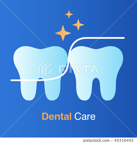 Dental care concept. Dental floss, good hygiene 49316493