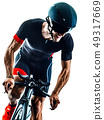 triathlete triathlon Cyclist cycling silhouette isolated white background 49317669