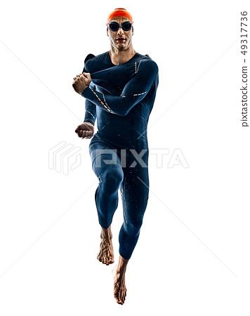 triathlete triathlon Swimmer swimsuit silhouette isolated white background 49317736