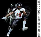 american football player man isolated black background light painting 49320525