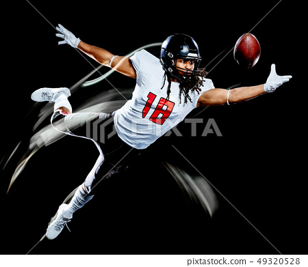 american football player man isolated black background light painting 49320528