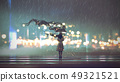 mysterious woman with umbrella 49321521