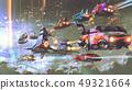 flying car traffic in the futuristic world 49321664