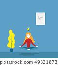 girl practices meditation yoga 49321873