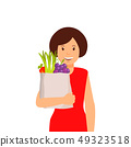 Women with Bag of Fruit and Vegetables Clipart 49323518