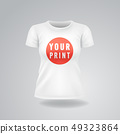 White woman T-shirt with short sleeves mock up, place for print 49323864