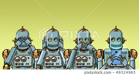 robot with telephone, Internet addiction concept. not see hear say 49324963
