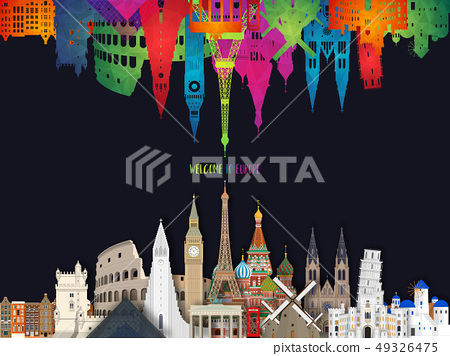 Europe famous Landmark paper art. Global Travel 49326475