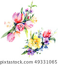 Bouquets floral botanical flowers. Watercolor background illustration set. Isolated bouquet 49331065