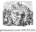 Vintage Drawing of Biblical Noe and his Sons Sacrificing animals to God. 49335291
