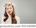 Cheerful Model Woman with Curly Hair, Makeup 49336089
