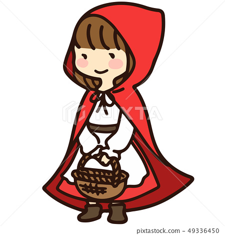 Girl dressed in red riding hood 49336450