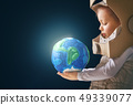 Kid with globe. 49339077
