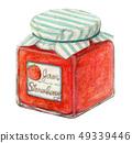 딸기 잼 그린 수채화 49339446