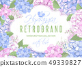 Floral Frame With Hydrangea Flowers 49339827