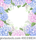 Floral Frame With Hydrangea Flowers 49339834