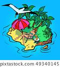 woman sunbathing on a tropical island 49340145