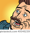 scared man with a mustache 49340239