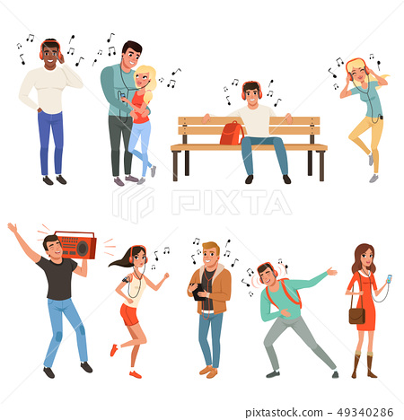 Set with people listening music. Young guys and girls with headphones, smartphones, record player 49340286