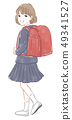Girls carrying a school bag 49341527