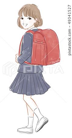 女孩背著書包 49341527