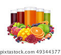 Glasses of different juice and pile of fruits and berries isolated on white background 49344377