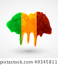 vector isolated Flag of Mali painted colors 49345811