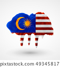vector isolated Flag of Malaysia painted colors 49345817