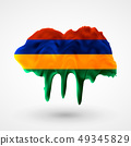 vector isolated Flag of Mauritius painted colors 49345829