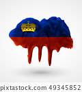 isolated Flag of Liechtenstein painted colors 49345852