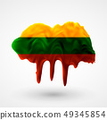 vector isolated Lithuanian flag painted colors 49345854