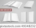 White book templates. Blank open book covers, closed brochure covers. Empty textbook with hardcover 49348232