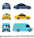 Car view. Delivery truck, police automobile and taxi auto side front viewing isolated urban drivers 49348248