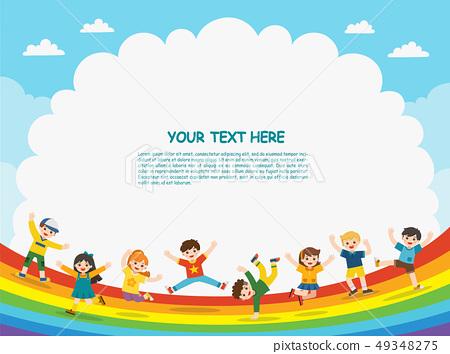 Happy children are jumping on rainbow. 49348275