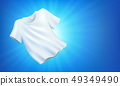 Bright white clean clothes, laundry on blue background 49349490